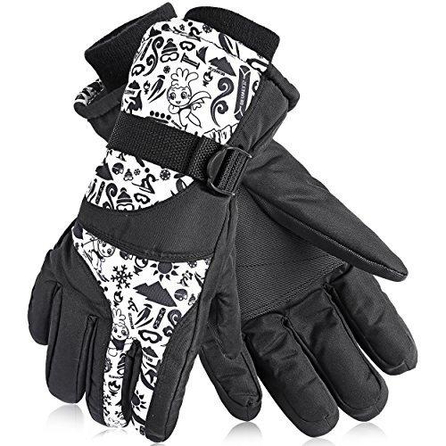 Oumers guanti da sci, guanti invernali, anti-splash taslan tessuto neve traspirante guanti caldi per uomini donne e bambini