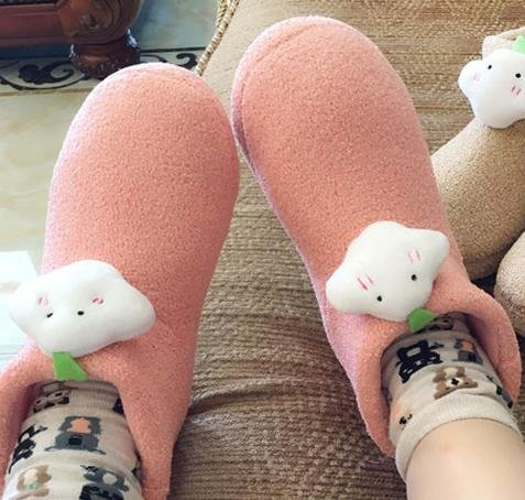 HH Chaussons coton pour hommes et femmes avec mignon hiver bottes coton chaud chaussons pantoufles maison watermelon red