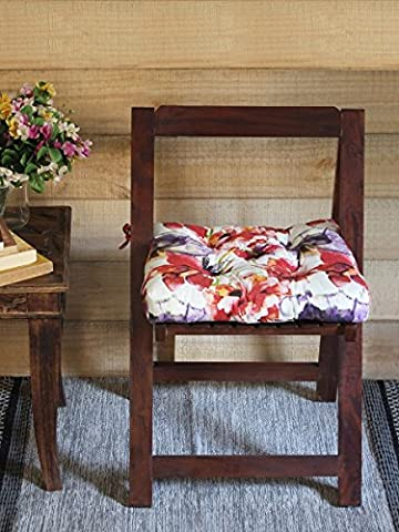 Fathers Day Gift Pure Cotton Square Chair Pad in Red Floral Design Car Seat Pad (Giorno Chair Pad)