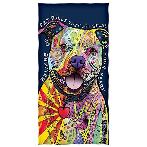 eruerueruruer Dean Russo Beware of Pit Bulls They Will Steal Your Heart Cotton Beach Towel