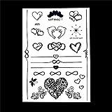 Schwarz Klebe Herz und Delfin Tattoo BJ023 Schmuck Tattoo zum Kleben für Köper Händ Arme black Tattoo