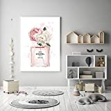 Affiches et impressions de bouteilles de parfum de pivoines roses sur toile, peinture murale, impression de tableaux, images de décoration de salon 50x70cm