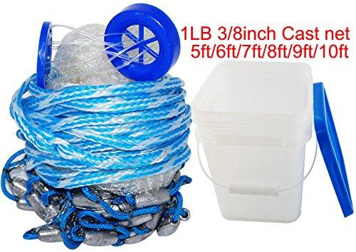 jshanmei® Handmade acqua salata pesca Trappola Cast Net per l' esca pesce 5ft-10ft raggio, 450g, 3/8Inch maglie (con un secchio) -dhl spedizione, 5 ft x3/8 inch