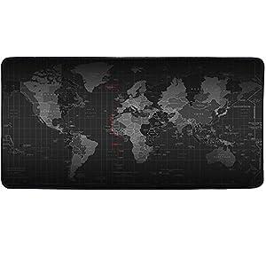 Temor – Alfombrilla para ratón de gran tamaño, perfecta para jugar, con diseño del mapa del mundo, color negro