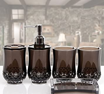5pc set acrylic bathroom accessories bathroom set glamarous black amazoncouk kitchen home