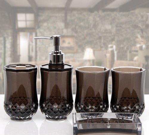 5pc set acrylic bathroom accessories bathroom set glamarous black amazoncouk kitchen home