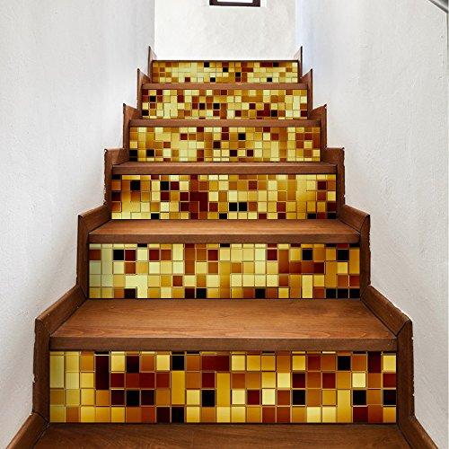 HGFLYF DIY3D treppenaufkleber, Dekoration Hause wasserdicht Europäischen und Amerikanischen wandaufkleber,6pcs,100 * 18cm