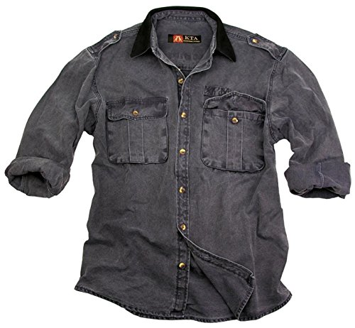 Outdoor Herren Hemd, Overshirt in braun, blau und grün aus robuster Baumwolle mit Lederkragen, Langarm-Shirt von Kakadu Australia Senf