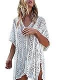 Bikini Cover Up Damen Blusen Elegant Kurzarm V Ausschnitt Aushoshlen Locker Einfarbig Uni-Farben Vintage Hippie Style Casual Jungen Hipster Pulli Blusenshirt Strandtunika Beachwear Große Größen