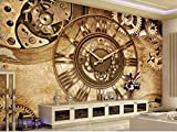 WALXMBZ Wallpaper Hintergrundbild Benutzerdefinierte Größe 3D Tapete Fototapete Wohnzimmer Wandbild Retro Gang Uhr 3D Malerei Sofa Tv Hintergrundbild Für Wände 3D, L250 * W175Cm