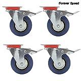Forever Speed 4 x 125 mm Rueda de Transporte Ruedas con Freno Ruedas de Carga Pesada de Acero Azul de Goma Elástico la Capacidad de Carga de 400Kg, Pl