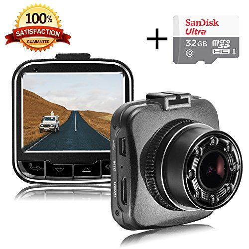 "Senwow Mini Dash Cam (With 32GB Card) 1080P Full HD Car Camera 2"" LCD Sony Sensor Auto Video Recorder 170° Wide Angle Lens Dashboard DVR Built-in G-sensor, Loop Recording, Night Vision, Parking Monitor, Motion Detection, WDR (Upgrade) (Dash Emergency Lights)"