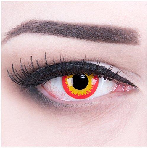 Funnylens 1 Paar farbige Crazy Fun wild fire Jahres Kontaktlinsen. perfekt zu Halloween, Karneval, Fasching oder Fasnacht mit gratis Kontaktlinsenbehälter ohne Stärke!