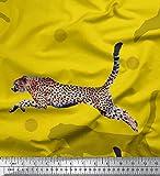 Soimoi Gelb Seide Stoff dot & springen Leopard Tier Dekor
