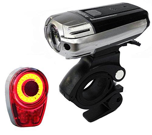 FREEMASTER Fahrradlicht Set USB AKKU Zugelassen LED Fahrradbeleuchtung Fahrradlampensets 300 lumens CREE (Schwarz+weiß)