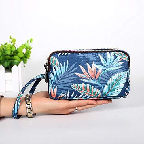 zxntc EDDC Geldbörse lange Leinwand Clutch Bag einfache dreischichtige Reißverschluss Handtasche Damen Tasche Handytasche, Cyan Blätter -