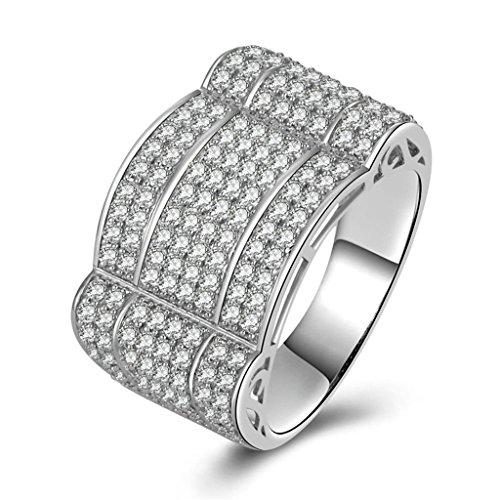 (Bagues de Mariage)Adisaer Bague Argent 925 Homme Bague de Fiancaille Diamant Special Zirconium Taille