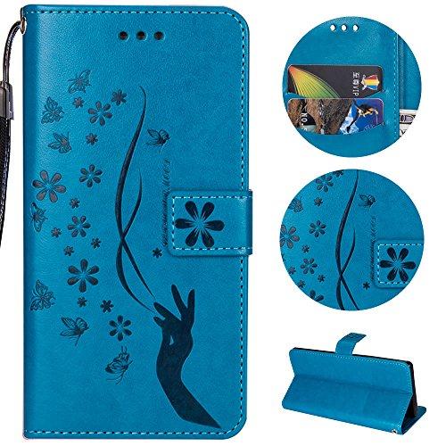 Sycode Galaxy A5 2017 Hülle,Galaxy A5 2017 Case,Galaxy A5 2017 Schutzhülle,Floral Schmetterling Blume Finger Muster Lederhülle Hülle für Samsung Galaxy A5 2017-Blau