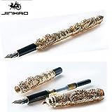 Jinhao Rollerball Pen rot gold Farbe doppelten Drachen spielen Perle Holz Geschenkbox