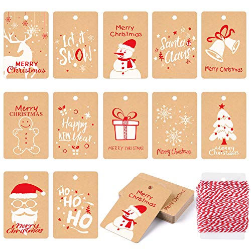 KUUQA 120Pcs Etiquetas regalo Navidad Festival Tarjeta