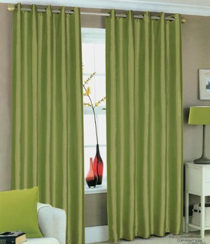 GREEN FAUX SILK LINED CURTAINS WITH EYELET RING TOP 90 x 90 by HOMEMAKER BEDDING
