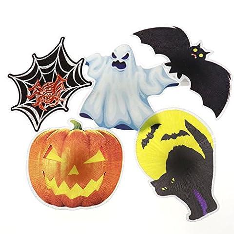 5tlg Halloween Geist Kuerbis Fledermaus Katze Spinne HAIR CLIP Haarreif LED Deko (Region 10 Kostüm)