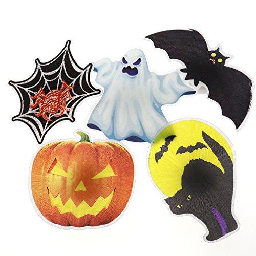 5tlg Halloween Dekoration Geist Kuerbis Fledermaus Katze Spinne HAIR CLIP Haarreif LED Deko Wandtattoos