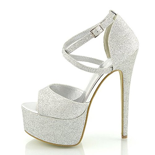 Damen Open Toe Plateau Stiletto High Heel Pumps Schluepfen Knoechel Cross Strap Buckle Party Schuhe