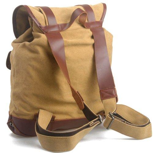 KAXIDY Daypack Leinwand Leder Sporttaschen Trekkingrucksack Rucksäcke Segeltuch Schulrucksäcke Taschen (Armee-Grün) Khaki