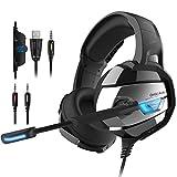 PUNICOK PS4 headset gaming Kopfhörer mit Rauschunterdrückung Mikrofon 3.5mm On Ear Surround Sound Ohrhörer für PS4 Xbox One PC Laptop Tablet Mobile