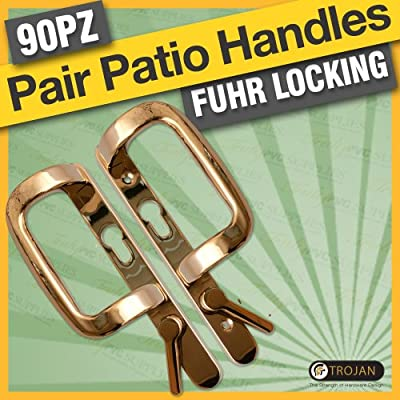 Trojan Sparta 90mm (PZ) Fuhr Sliding Patio Door Handles for Fuhr gearboxes, in White, PVD Gold or Polished Chrome. Die cast Zinc, powder or PVD coated for colour fastness and mechanical longevity. - inexpensive UK light store.