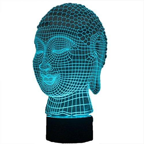 HPBN8 3D Buddha Lampe USB Power 7 Farben Amazing Optical Illusion 3D wachsen LED Lampe Formen Kinder Schlafzimmer Nacht Licht【7 bis 15 Tage in Deutschland angekommen】