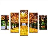 Loiazh - Bilder Vlies Leinwandbild 5 Teilig Kunstdruck modern Wandbilder Wanddekoration Design Wand Bild - Frameless - Goldener Herbstbaum 55x22 45x20x2 35x20x2(cm)