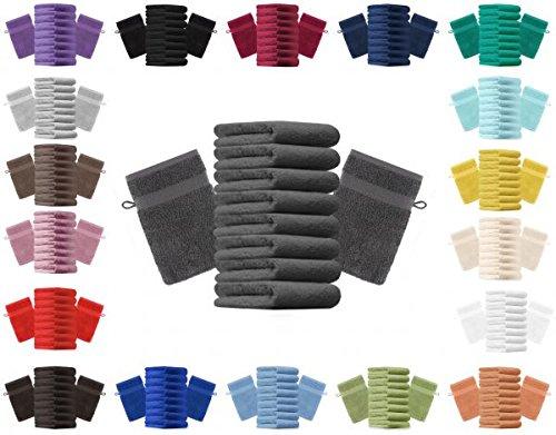 Betz lot de 10 gants de toilette taille 16x21 cm 100% coton Premium color noir