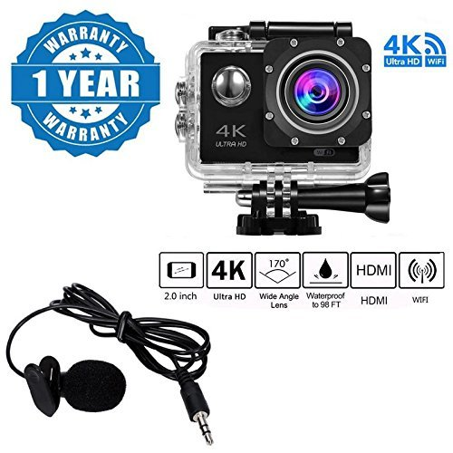HA 4K WIFI Sports Action Camera Ultra HD Waterproof DV Camcorder 16MP 170 Degree Wide Angle with Lavalier Noise Cancelling 3.5 mm Clip on Mini Microphone for Smartphones