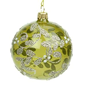 glass olive green christmas bauble 80mm