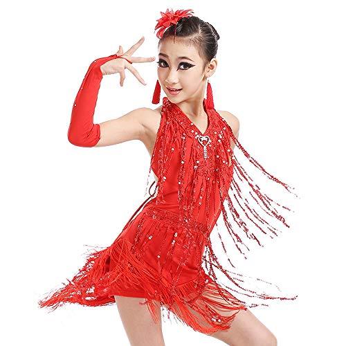 Lazzboy Kostüme Dance Kleinkind Kinder Mädchen Latein Ballett Kleid Quaste (Höhe160,Rot)