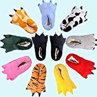 MXSWZ Animal Paw House Slippers Winter Men and Women Slippers Woman Monster Claw Kids Slippers Cute Plush House Shoes