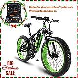 Extrbici e bike herren XF800 1000W 48V 13AH Fat Tire Elektrofahrrad 26 'Aluminiumrahmen Vollfederung Fat Bike, 7-Gang-Shimano-Schaltsystem mit bis zu 28 km / h, hydraulisch geschlossene Scheibenbremse