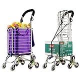 MEYLEE Faltender Einkaufswagen, Treppen-Kletternder Lebensmittelgeschäft-Wäscherei-Gebrauchs-Wagen mit Schwenkrad-Lagern, 130 Pfund-Kapazität