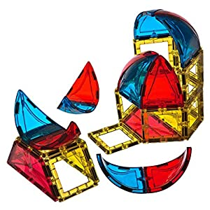 Playmags Conjunto de 28 Piezas con Forma de Domo Ahora con imanes más Fuertes, Resistentes y duraderos, con baldosas de Colores Vivos y Transparentes.