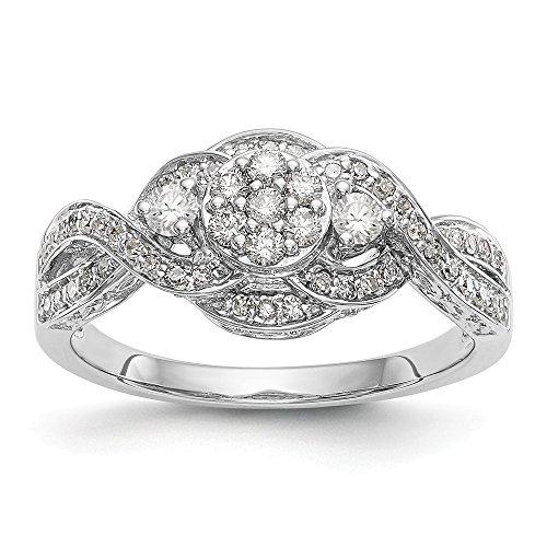diamond2deal Damen 14K Weiß Gold komplett Diamant-Cluster Ring (0.414ct, h-si2)