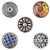 Morella® Damen SMALL Click-Button Set 5 Stück Druckknöpfe 12 mm Ø Edle Verzierungen mit Paisley Muster und Blume