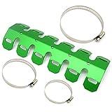 25cm Universale protettore del tubo di scarico Protezione Schermo Termico di Scarico del Moto (Verde)