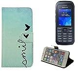 K-S-Trade® Für Samsung Xcover 550 Hülle Wallet Case Schutzhülle Flip Cover Tasche Bookstyle Etui Handyhülle ''Smile'' Türkis Standfunktion Kameraschutz (1Stk)