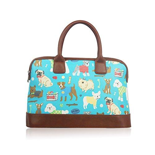 Cani borsone weekend viaggi borsa a tracolla in tela cerata da donna borsetta da donna Turquoise