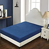 Navy Blue-Twin: Moouk Fitted Bottom Sheet, Mattress Protector Cover, Hotel Collection Bed Sheet