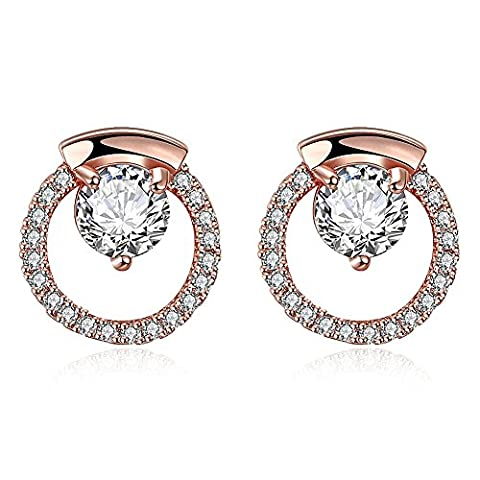 FJYOURIA Ladies Round Earrings Sparkling Diamond Cubic Zirconia Double Circle Stud Earrings (18ct Rose Gold)