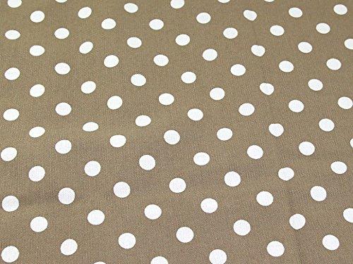 Spotty Polka Dot Print Baumwolle Canvas Stoff Latte-Meterware -