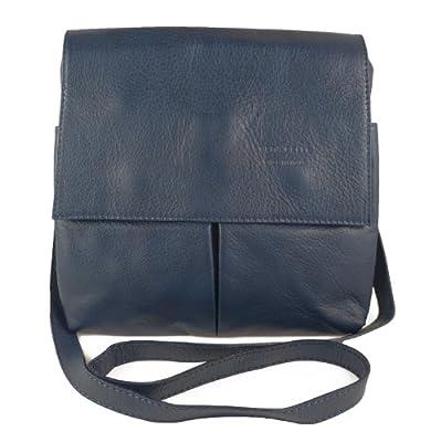Italian Bag Company Womens Vera Pelle Medium Cross Body Bag Genuine Italian soft leather wit 2 Pockets